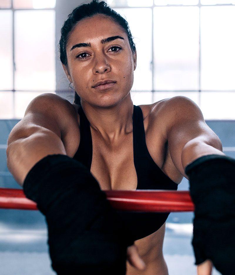 Woman in boxing gear