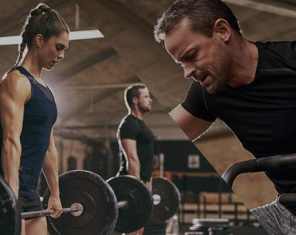 2 photos, left side is a female dead lifting weight in active wear, right side is a man doing cardio in active wear