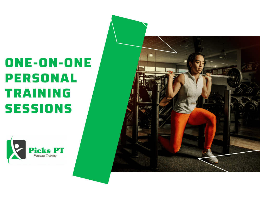 One on One Personal training with Female doing Weighted Lunges with a green banner